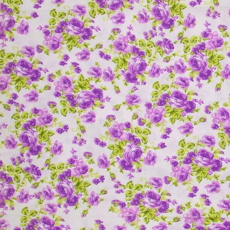 Decorart - Floral Roxo Folhas Verdes Com Fundo Cinza - 50cm x 150cm