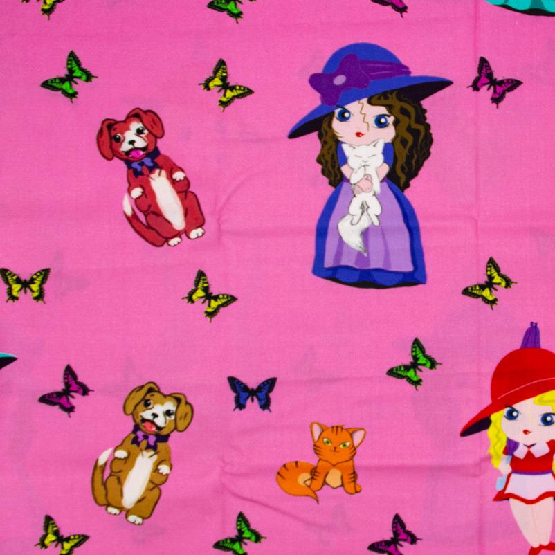 Decorart - Meninas Animais Com Fundo Pink - 50cm x 150cm
