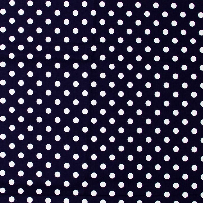 Decorart - Poá Branco Com Fundo Azul  Marinho - 50cm x 150cm