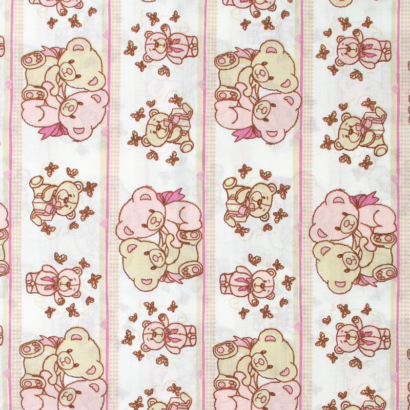 Decorart - Faixas Ursos Rosa Com Fundo Rosa - 50cm x 150cm