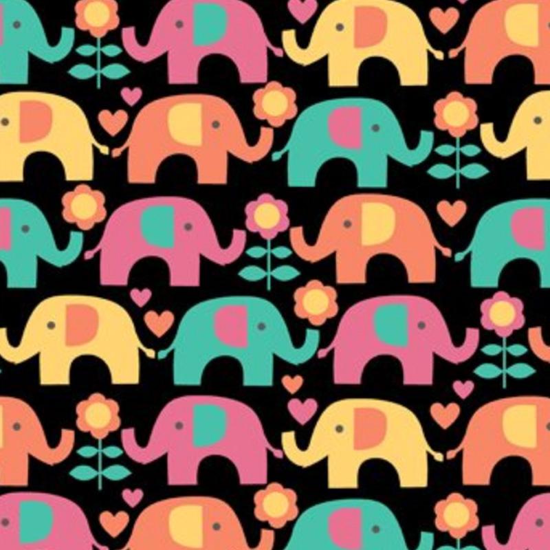 Eva e Eva Coleção Passo do Elefantinho - Estampa Elefantinho Colorido Fundo Preto - 50cm x 150cm
