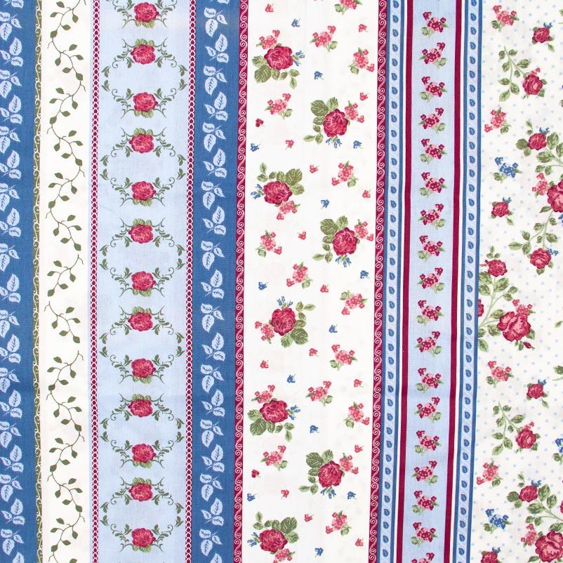 Estilotex - Faixas Flores Azul/Branco- 50cm x 150cm