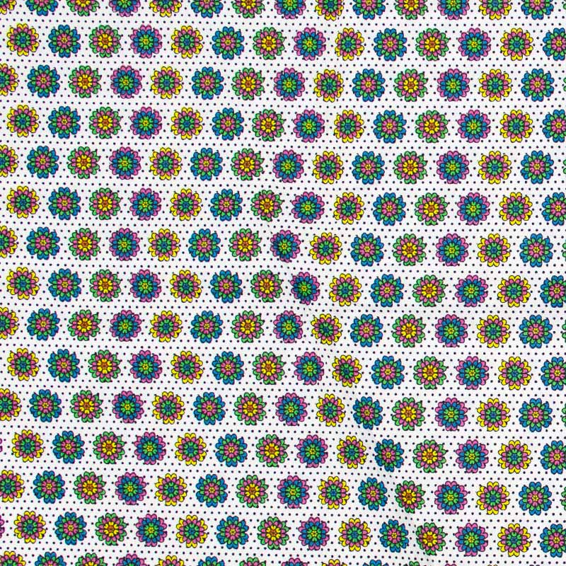 Estilotex - Flores Coloridas Com Fundo Branco - 50cm x 150cm