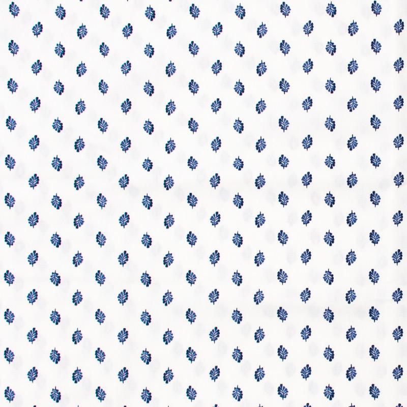 Estilotex - Folhas Azul Com Fundo Branco - 50cm x 150cm