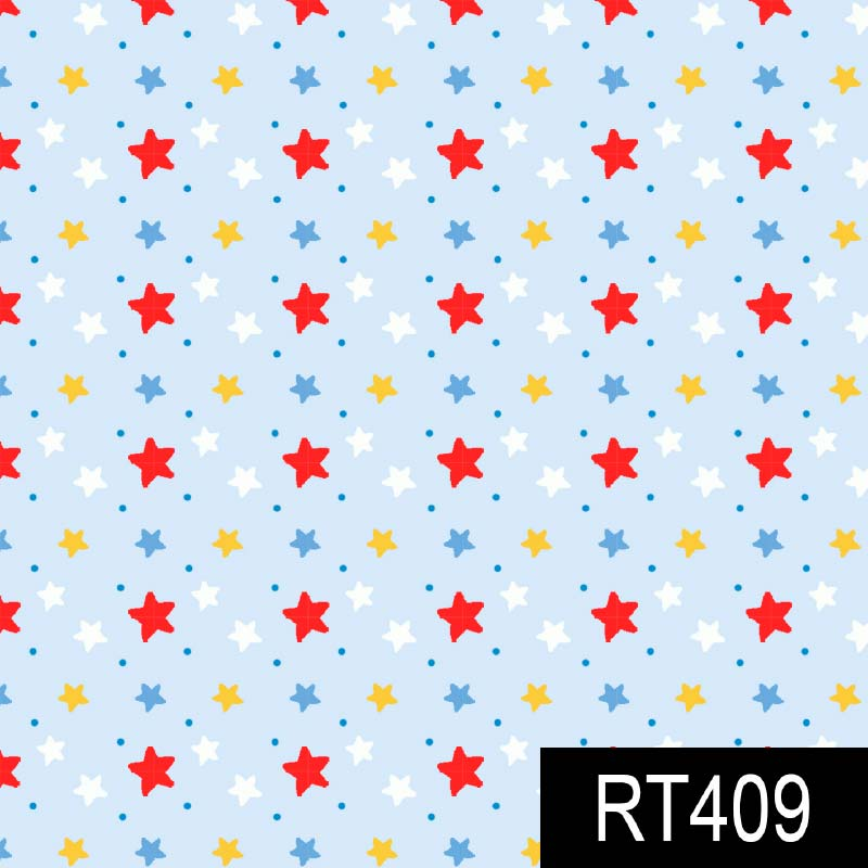 Fuxicos e Fricotes - Coleção Pintando o Sete - Estrelinhas Azuis - 50cm X150cm