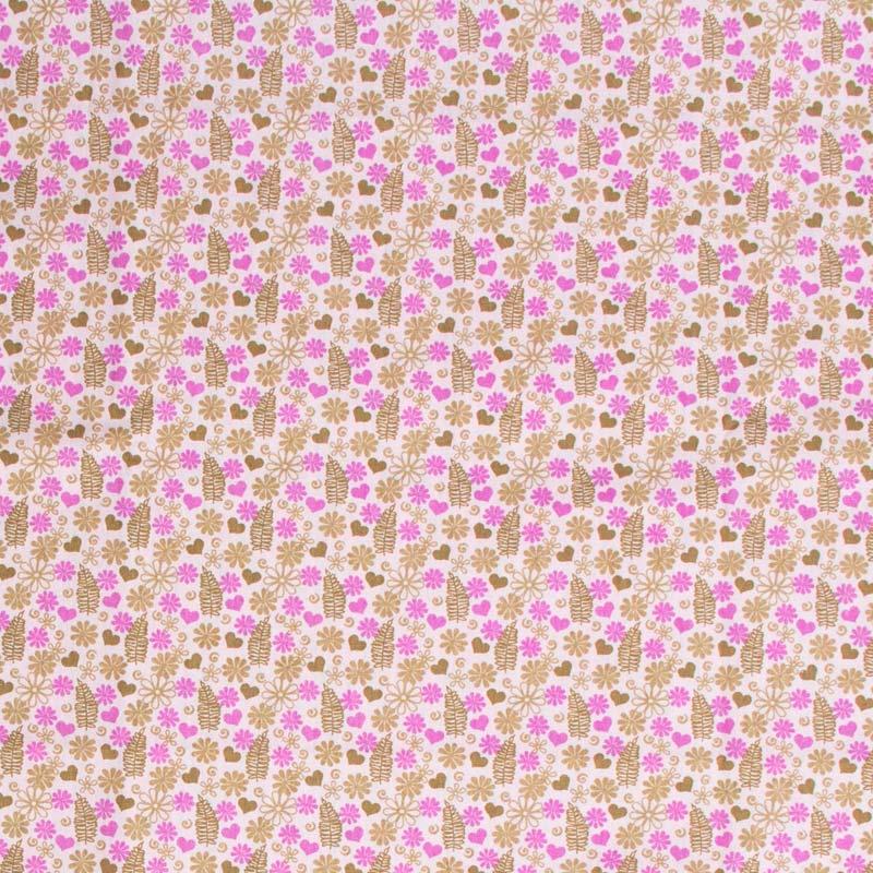 Fabricart - Folhas Corações Com Fundo Rosa - 50cm X150cm
