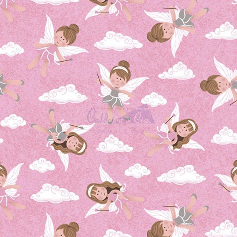 Caldeira Coleção Bonecas Puppe - Estampa Fadas Rosa - 50cm x 150cm