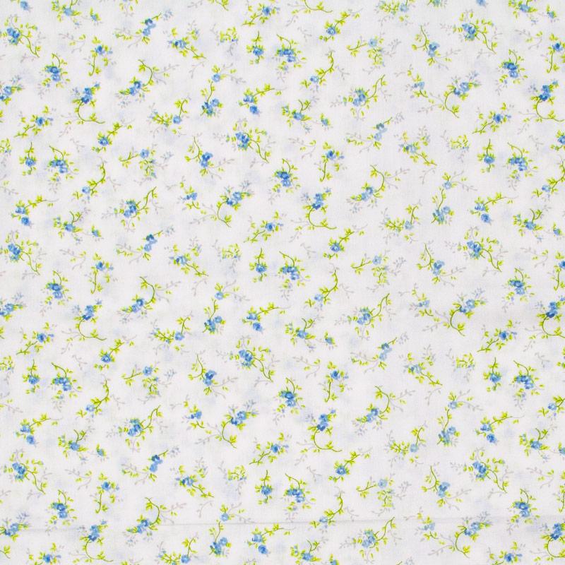 Fernando Maluhy -  Floral Azul Olhas Amarela Com Fundo Branco - 50cm X150cm