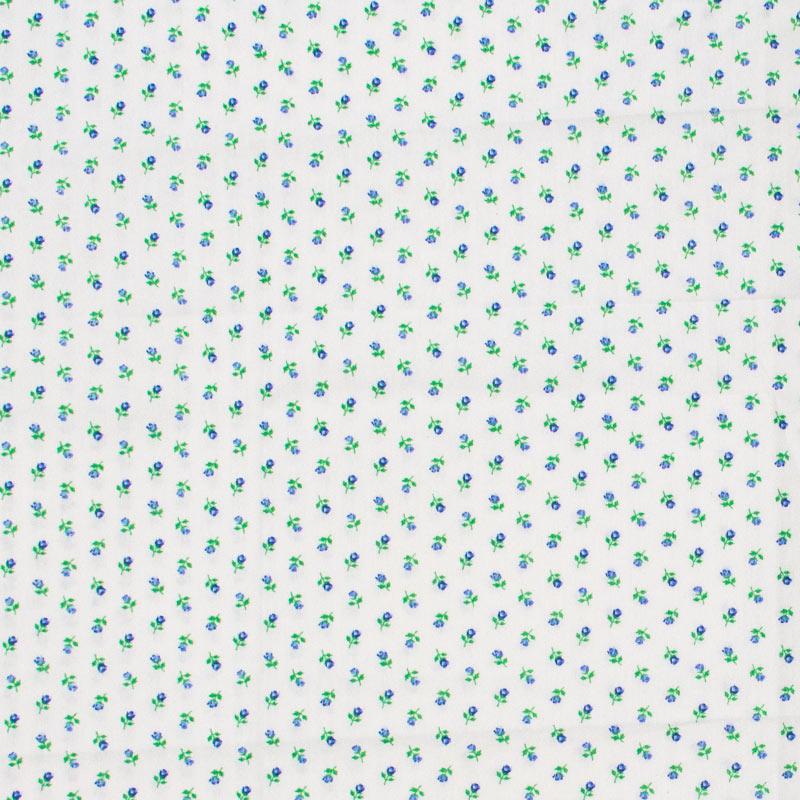 Casa Criativa - Mini Flores Azul Com Fundo Branco - 50cm X150cm