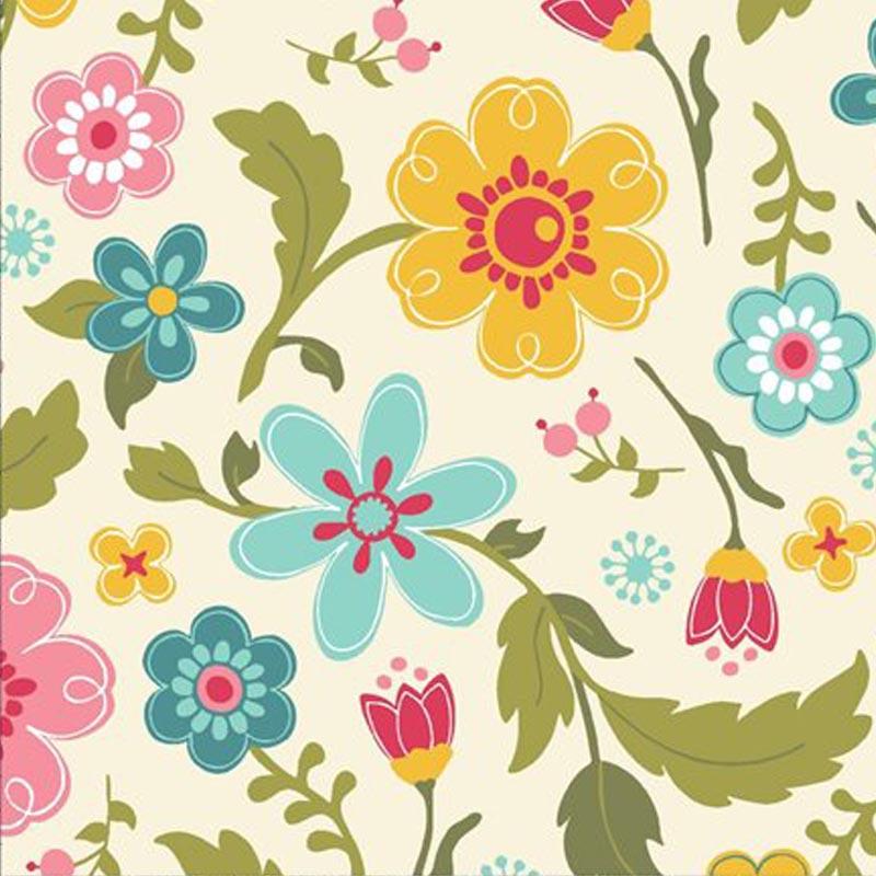 Eva e Eva Coleção Florescer - Estampa Floral Creme - 50cm x 150cm