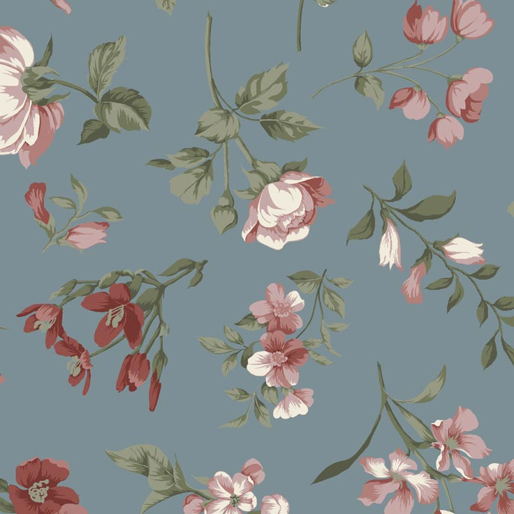Fernando Maluhy - Coleção Roses in Bloom - Flor Fundo Azul - 50cm X150cm