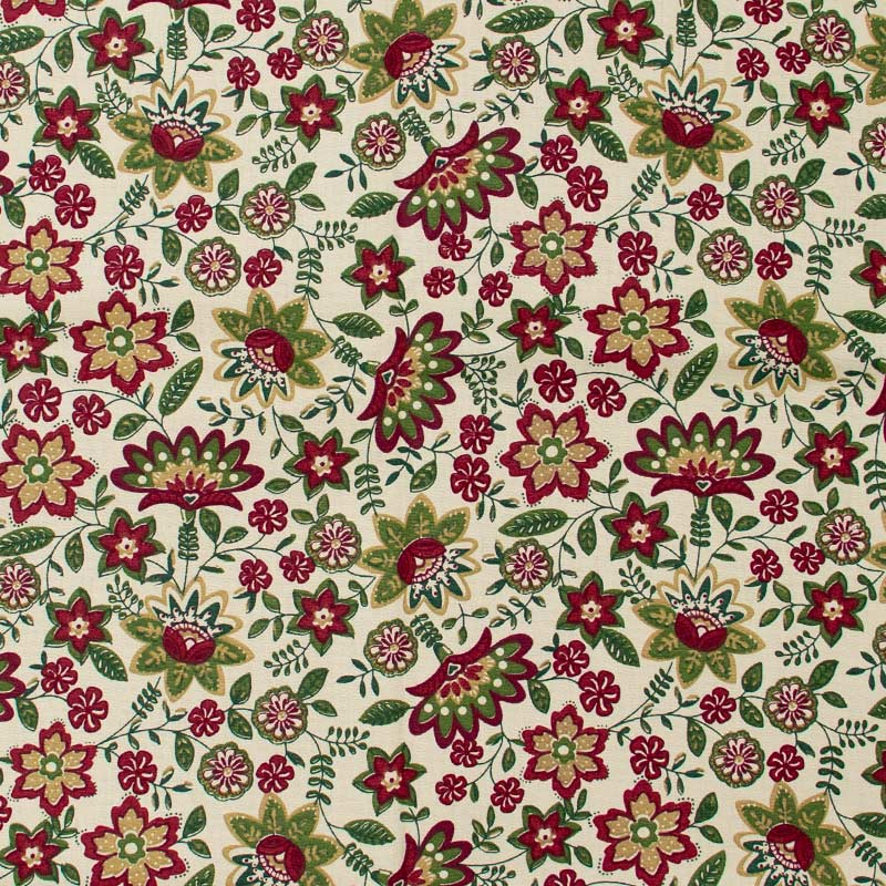 Fuxicos e Fricotes - Coleção Lancaster - Floral Vinho/Verde Musgo - 50cm x 150cm