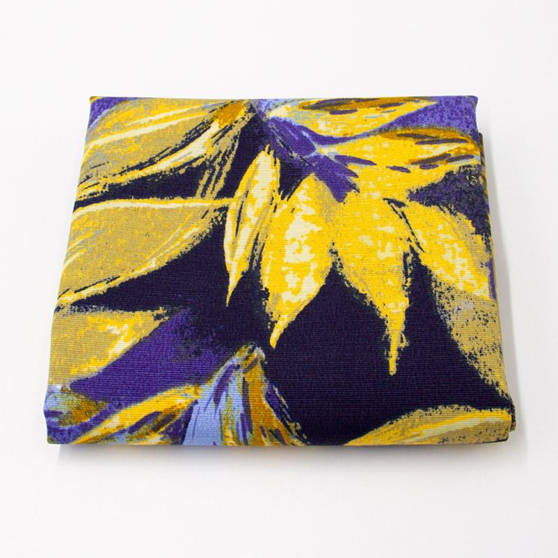 Tecido Gorgurão - Folhas Roxo e Amarelo - 50cm x 140cm