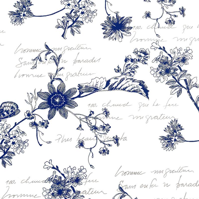 Tecido Gorgurão - Flores e Frases Marinho Fundo Branco - 50cm x 140cm