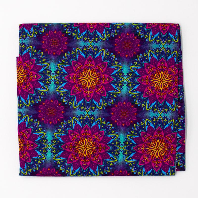 Igaratinga  - Mandalas Azul Com Rosa - 50cm X150cm