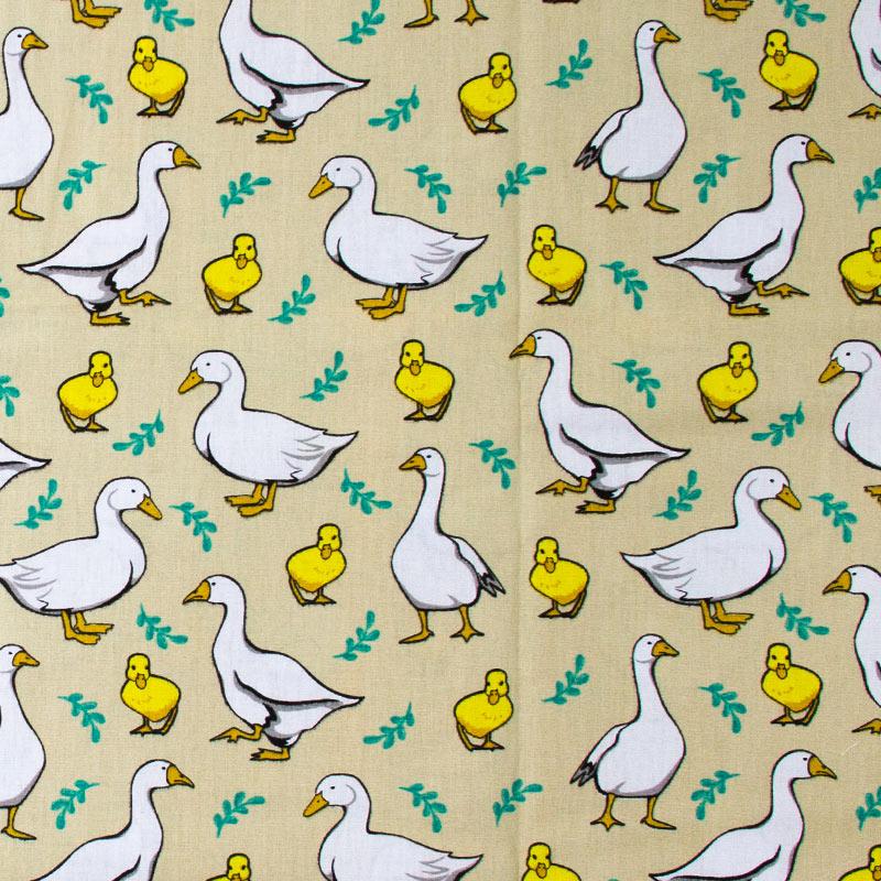 Itaúna - Patos Branco/Amarelo Com Fundo Bege - 50cm X150cm