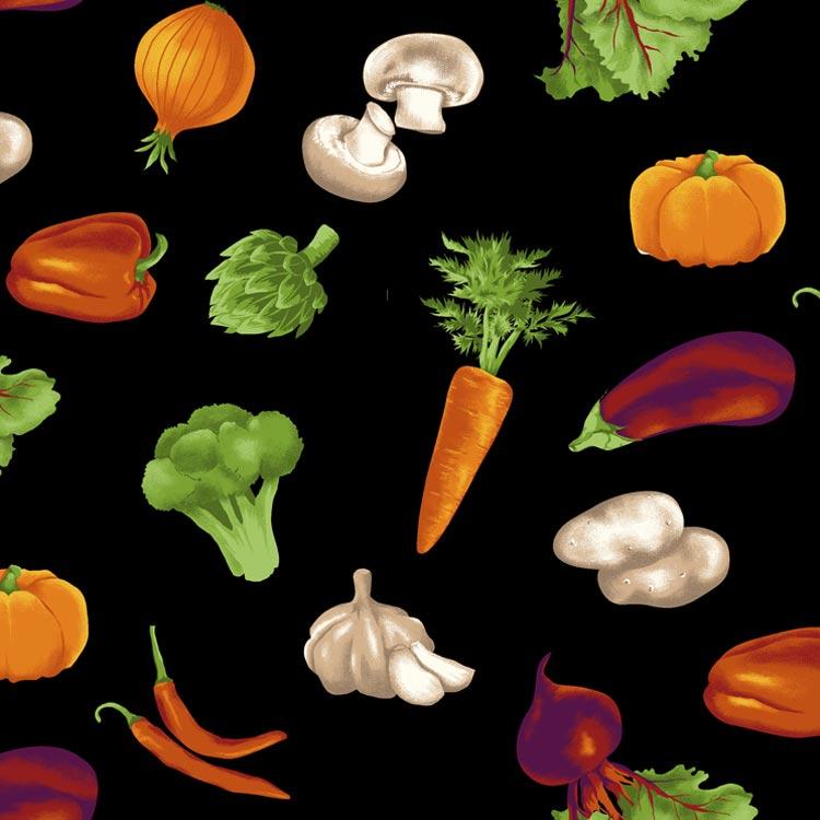 Fernando Maluhy - Coleção Vegan Life - Legumes Coloridos Fundo Preto - 50cm X150cm