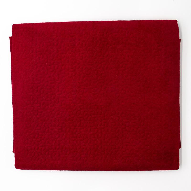 Tecido Matelassado Sarja Vermelho Aveludado Floral  - 50cm X 150cm