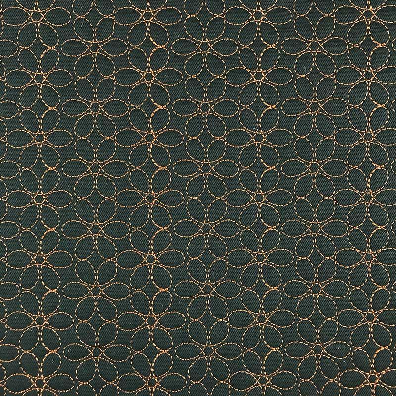 Tecido Matelassado Sarja Flor Verde - 50cm X 150cm