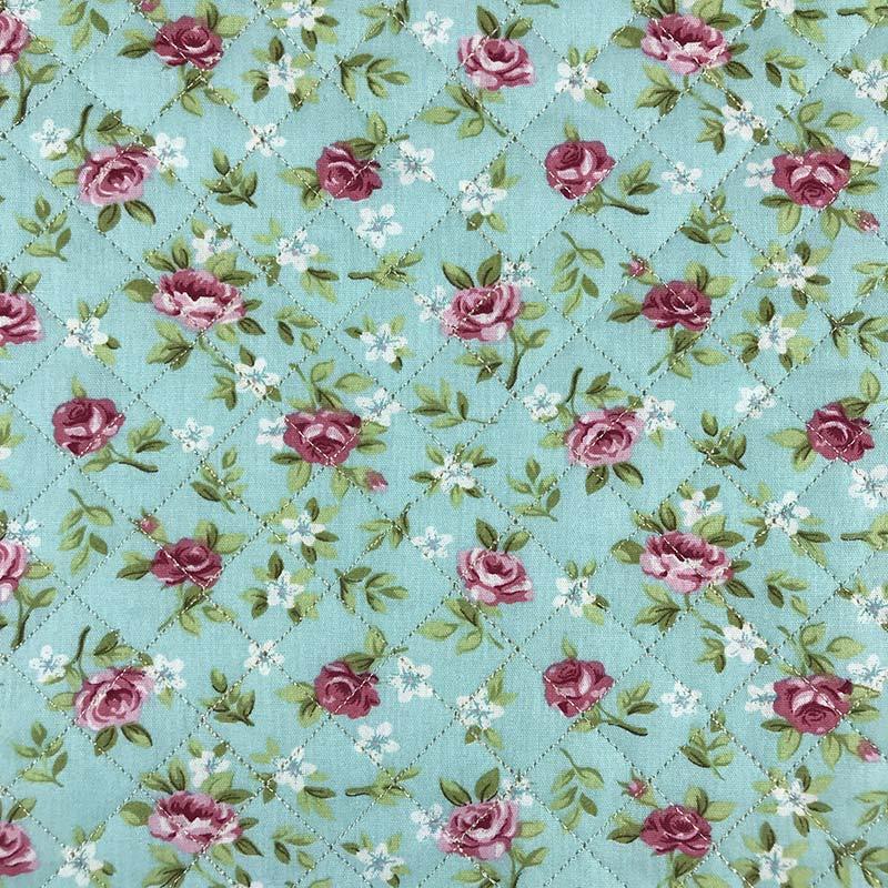Tecido Matelassado Tricoline Flores Fundo Tiffany - 50cm X 150cm