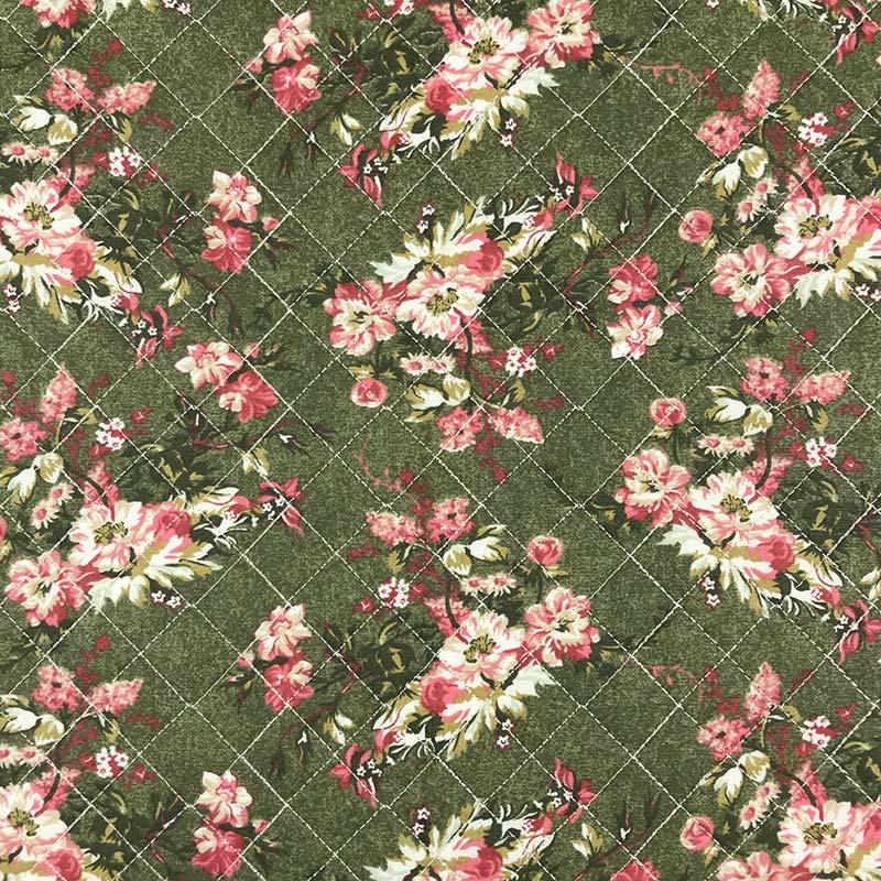 Tecido Matelassado Tricoline Flores Fundo Verde - 50cm X 150cm