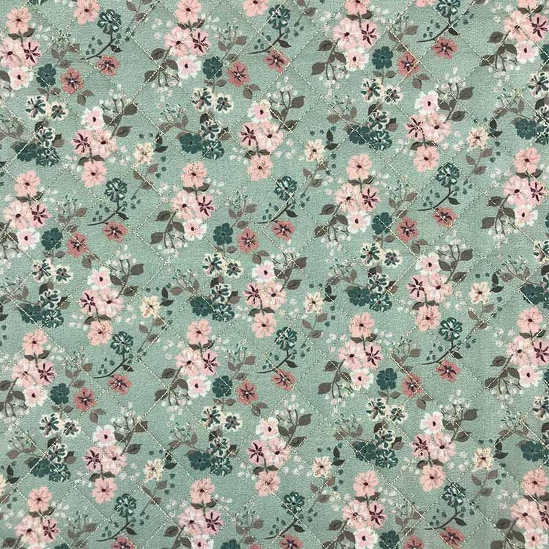Tecido Matelassado Tricoline Digital Flores Fundo Verde 02 - 50cm X 150cm
