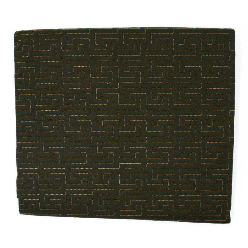 Tecido Matelassado Sarja Labirinto Verde Escuro Linha Caramelo  - 50cm X 150cm