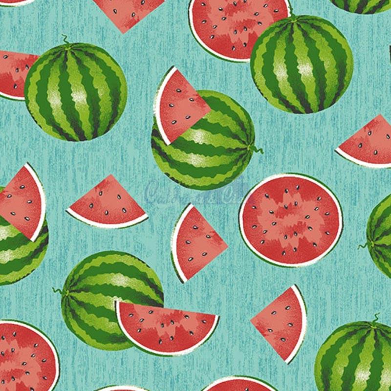Caldeira Coleção Fruits - Estampa Melancia Cortada Azul - 50cm x 150cm