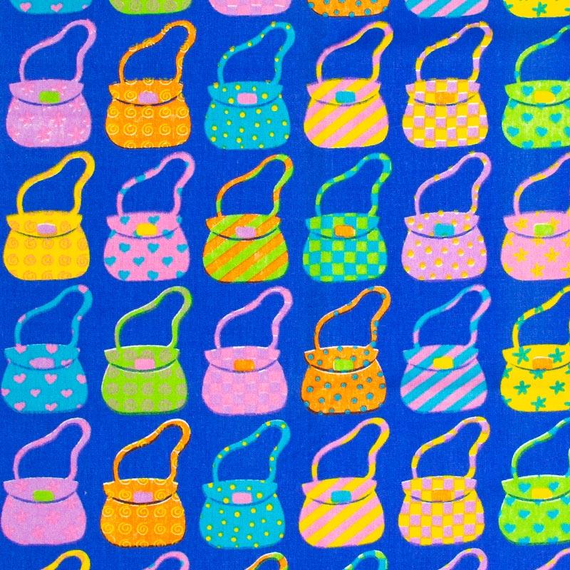 Casa Criativa- Bolsas Coloridas Com Fundo Azul - 50cm X150cm
