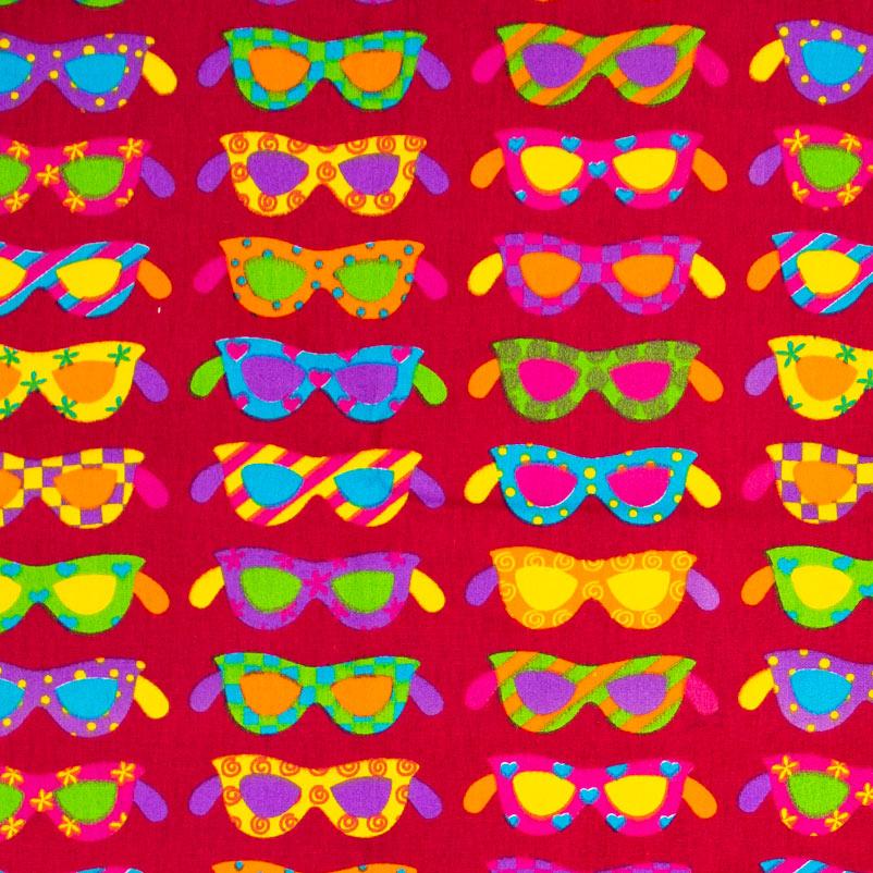Patch Brasil - Óculos Colorido Com Fundo Vermelho - 50cm X150cm