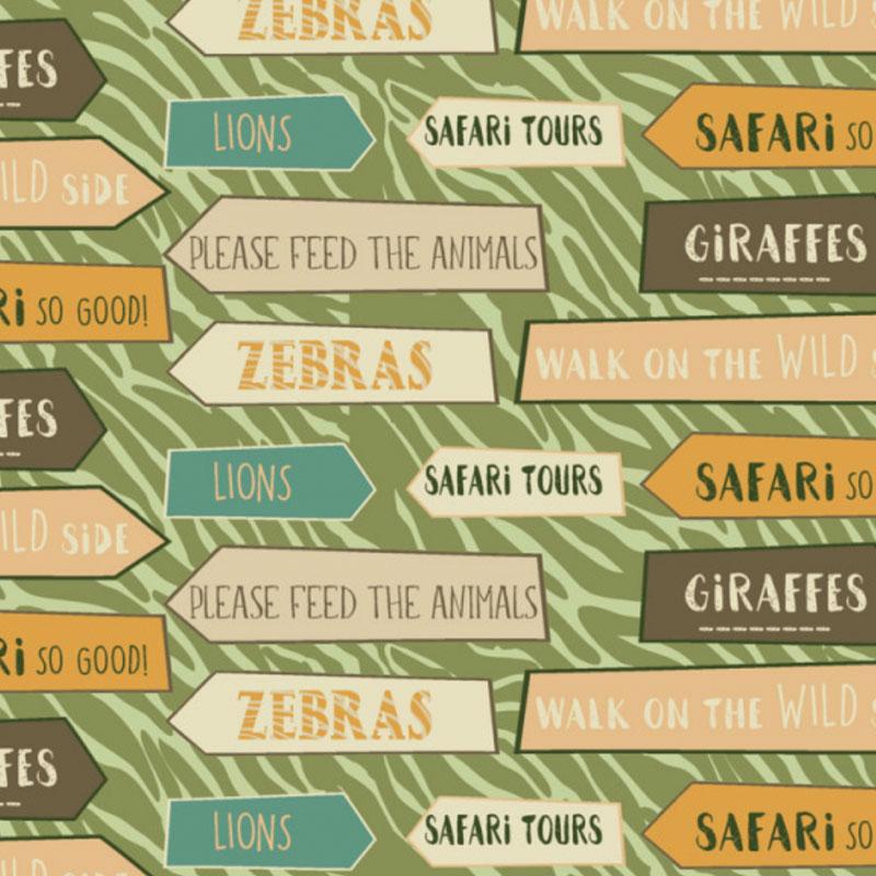 Fabricart Signature - Coleção Safari - Estampa Placas Safari - 50cm X150cm
