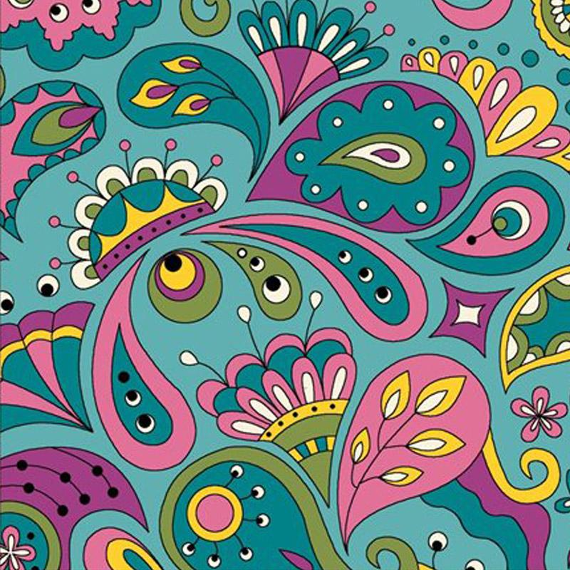 Eva e Eva Coleção Rhapisody - Estampa Rhapisody Color Azul - 50cm x 150cm