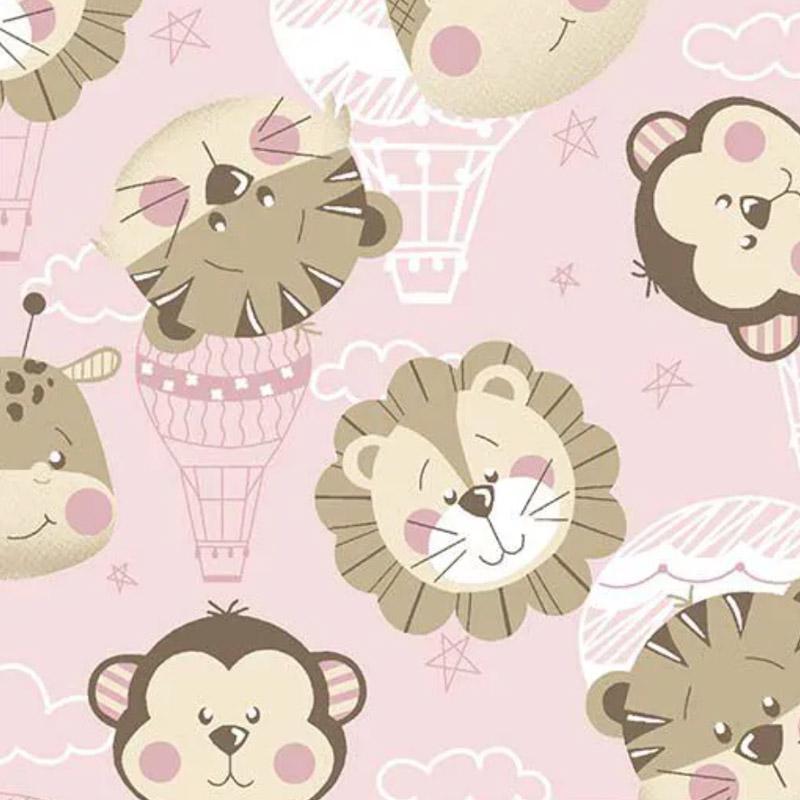 Fuxicos e Fricotes - Coleção Bichinhos Baby -  Rostos Bichinhos Baby Rosa - 50cm X150cm