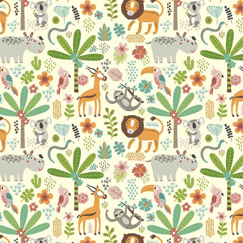 Fabricart - Coleção 116 Colors - Estampa Selva Divertida - 50cm X150cm