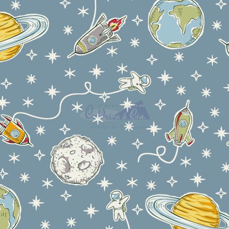 Caldeira Coleção Expedição - Estampa Space Jeans - 50cm x 150cm
