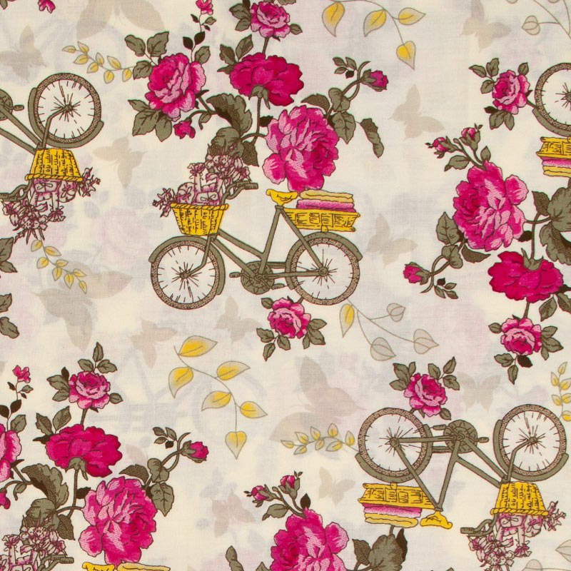 Teksana - Bicicletas Rosas Com Fundo Creme - 50cm x 150cm