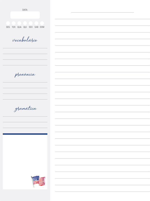 caderno de inglês para estudar em casa
