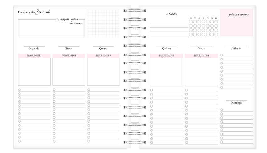 planner organizador semanal para deixar seu dia mais produtivo
