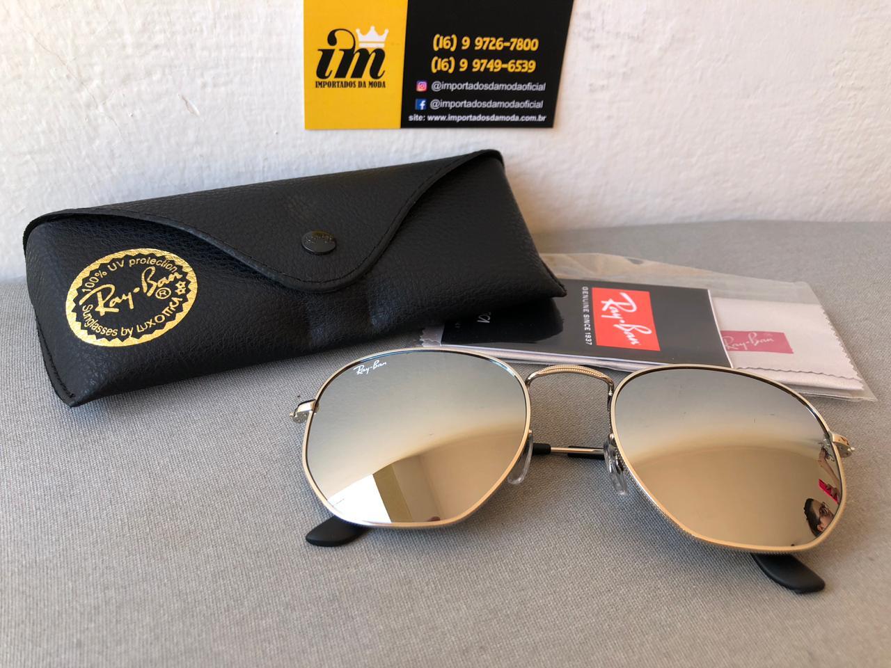 Óculos De Sol Ray Ban Hexagonal Prata Replica Primeira Linha