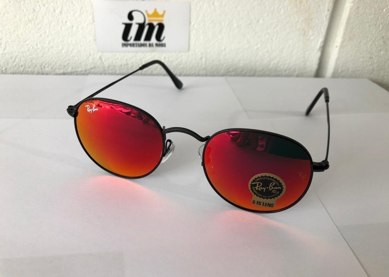 ca56b630d Fotos reais e detalhadas do Óculos de Sol Ray Ban Round Vermelho Replica  Primeira Linha