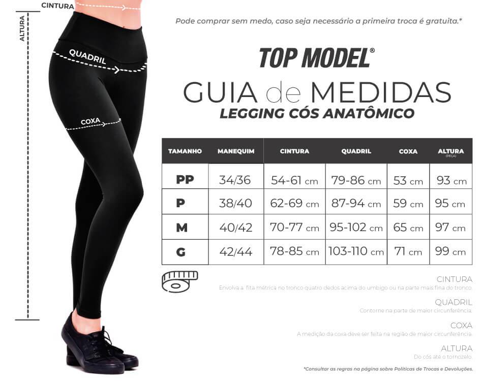 Guia de Medidas Legging Cós Anatômico