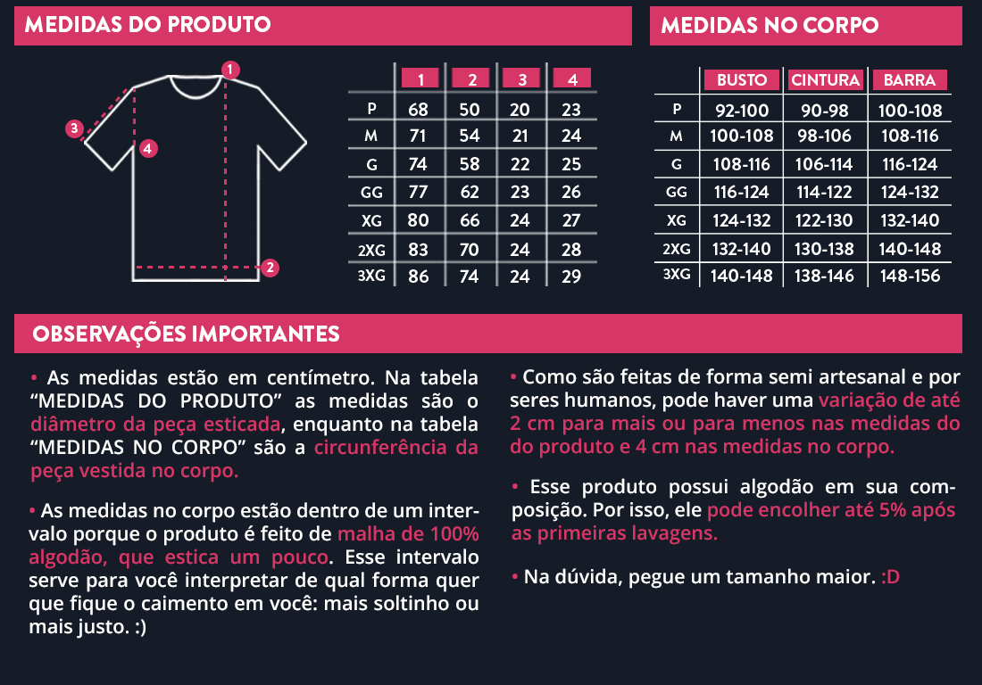 Tabela de Medidas