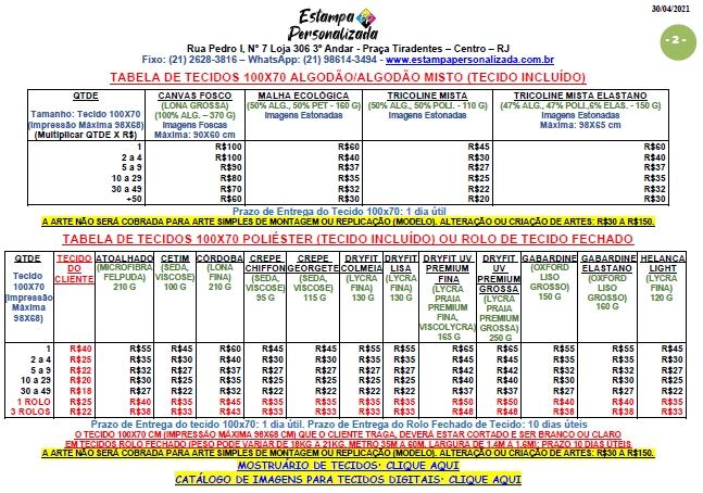 Tabela de Preços de Tecidos da Estampa Personalizada