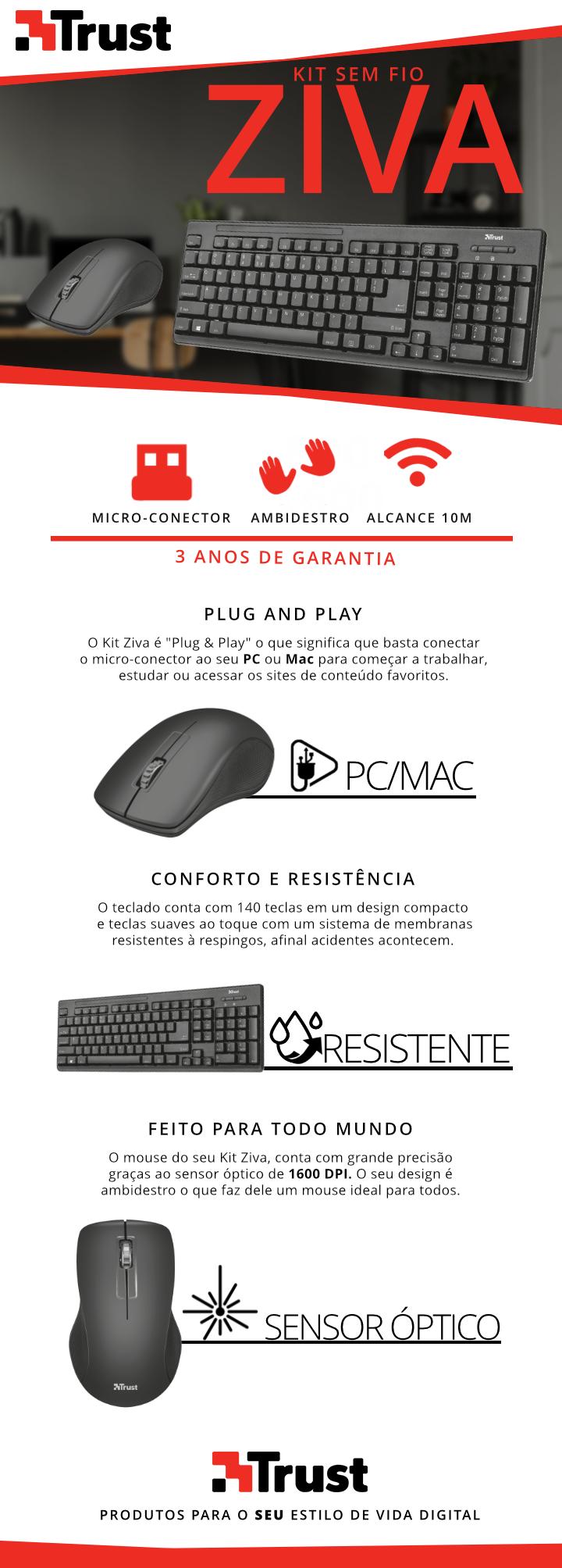 kit mouse+teclado sem fio wireless