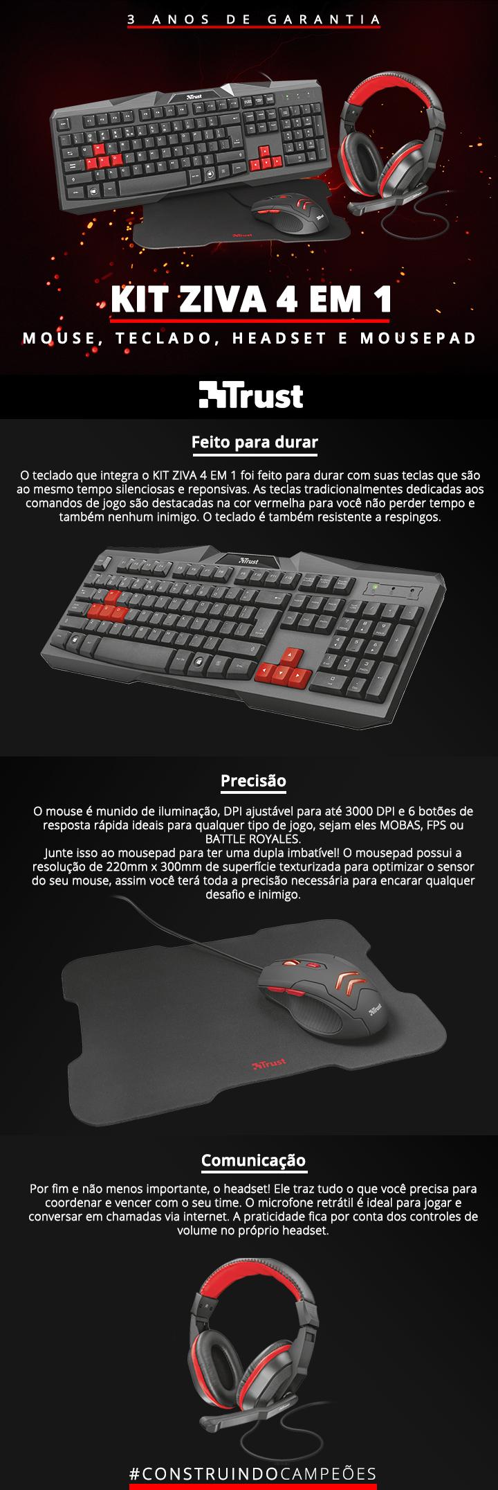 Combo Mouse Teclado e Headset Trust
