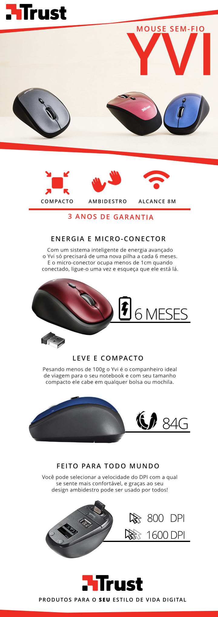 Mouse Sem Fio Wireless USB Trust