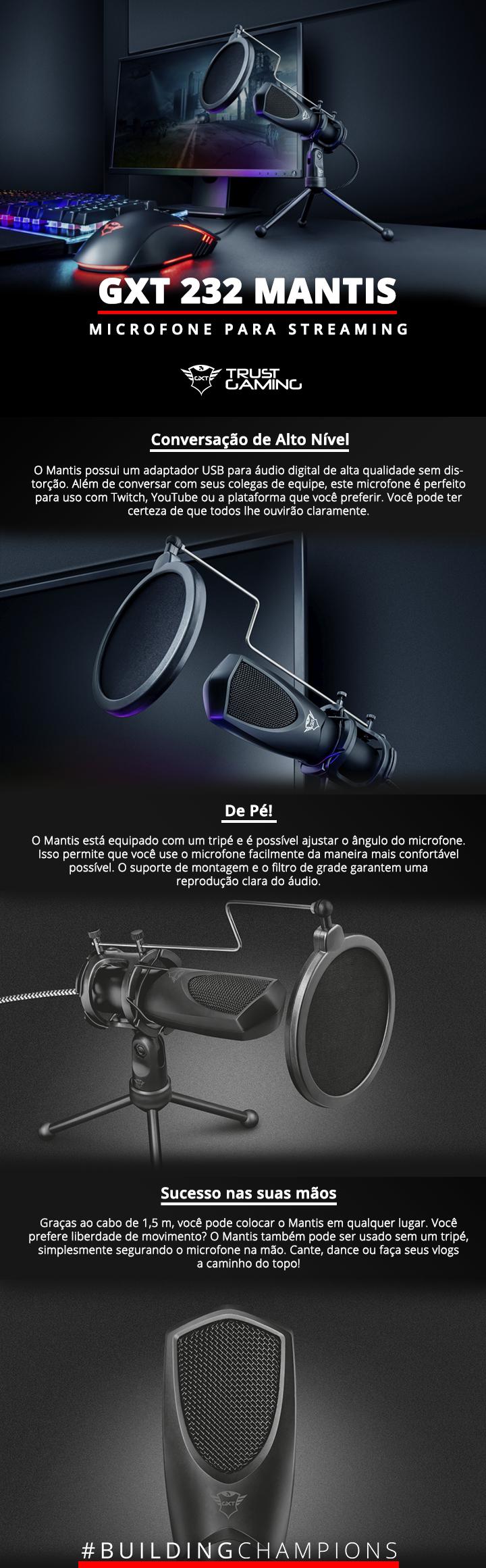 Microfone Condensador trust Mantis GXT 323 Streaming[