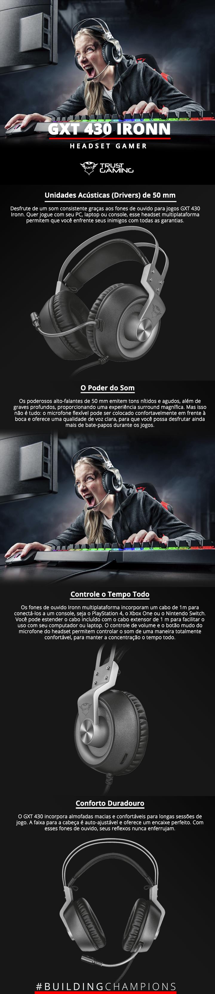 Headset Gamer Com fio Trust Gxt Multiplataforma