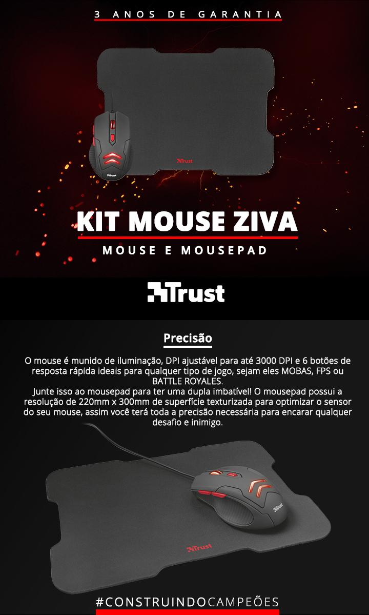Kit Gamer Mouse e Mousepad Trust Ziva Led Vermelho
