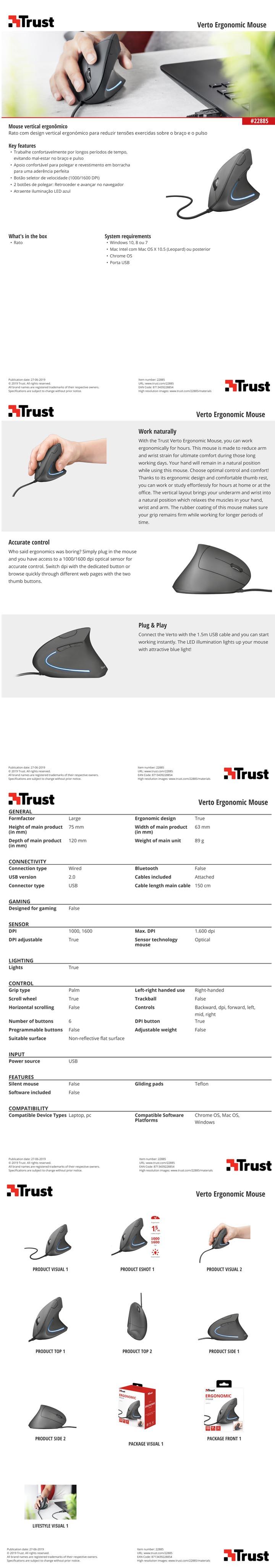 mouse Vertical Gamer Trust Ergonômico 1600 dpi